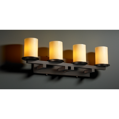 Justice Design Group Justice Design Group Candlearia Collection Bathroom Light CNDL-8774-10-AMBR-DBRZ