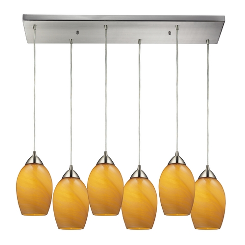 Elk Lighting Modern Multi-Light Pendant Light with Brown Glass and 6-Lights 10222/6RC-MEL