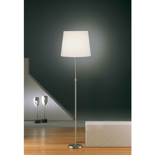 Holtkoetter Lighting Holtkoetter Modern Floor Lamp with White Shade in Satin Nickel Finish 6354 SN SWRG