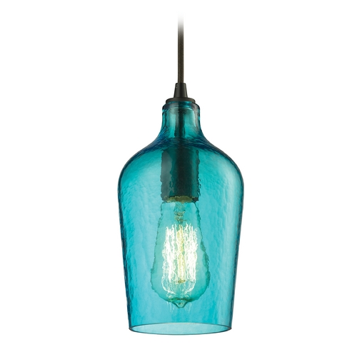 Elk Lighting Mini-Pendant Light with Green Glass 10331/1HAQ