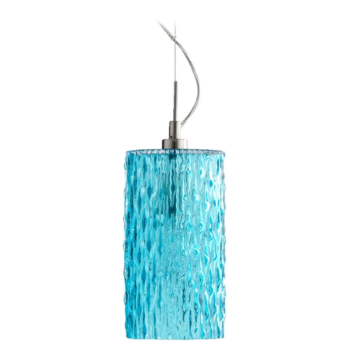 Quorum Lighting Quorum Lighting Satin Nickel W/ Aqua Mini-Pendant Light with Cylindrical Shade 825-1265