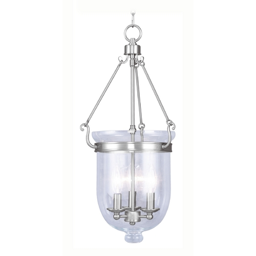 Livex Lighting Livex Lighting Jefferson Brushed Nickel Pendant Light with Bowl / Dome Shade 5064-91