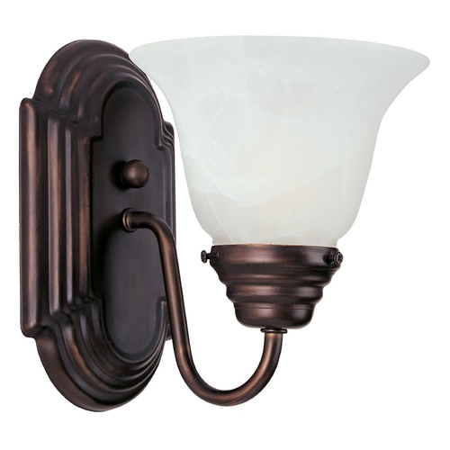 Maxim Lighting Sconce Wall Light with White Glass in Oil Rubbed Bronze Finish 8011MROI