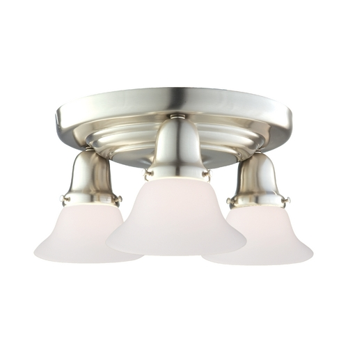 Hudson Valley Lighting Semi-Flushmount Light with White Glass in Satin Nickel Finish 587-SN-415