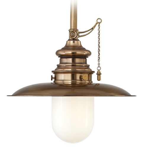 Hudson Valley Lighting Pendant Light with White Glass in Aged Brass Finish 8820-AGB
