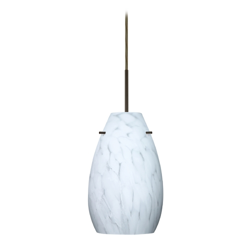 Besa Lighting Modern Pendant Light White Glass Bronze by Besa Lighting 1JT-412619-BR