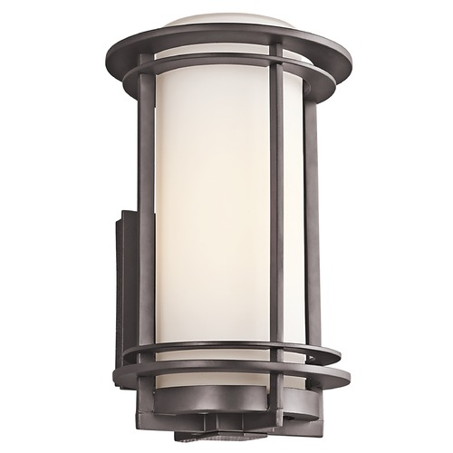 Kichler Lighting Kichler Outdoor Wall Light with White Glass in Bronze Finish 49345AZ