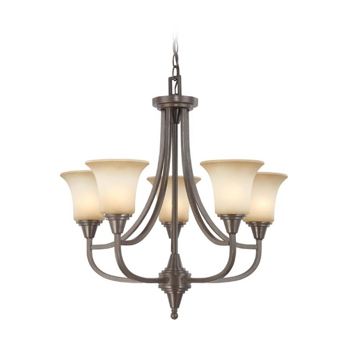 Nuvo Lighting Modern Chandelier with Beige / Cream Glass in Vintage Bronze Finish 60/4166