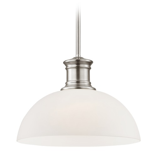 Design Classics Lighting Satin Nickel Pendant Light with White Glass 13-Inch Wide 1761-09 G1785-WH