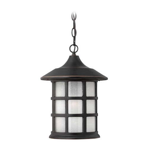 Hinkley Lighting Etched Seeded Glass Outdoor Hanging Light Bronze Hinkley Lighting 1802OP-GU24