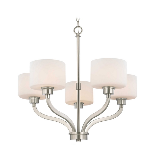 Dolan Designs Lighting Chandelier with White Glass Drum Shades and Five Lights 1260-09