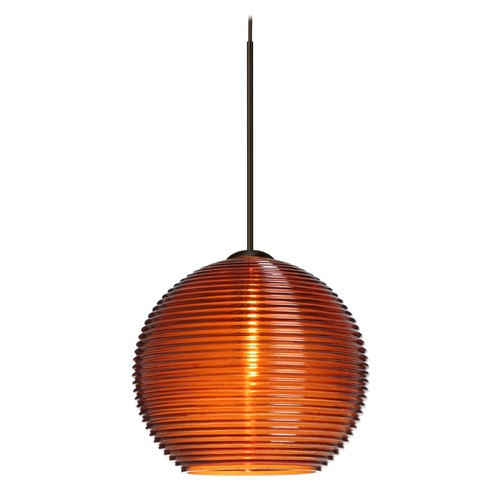 Besa Lighting Besa Lighting Kristall Bronze Mini-Pendant Light with Globe Shade 1XT-461582-BR