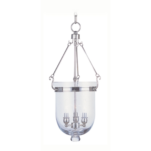 Livex Lighting Livex Lighting Jefferson Polished Nickel Pendant Light with Bowl / Dome Shade 5064-35