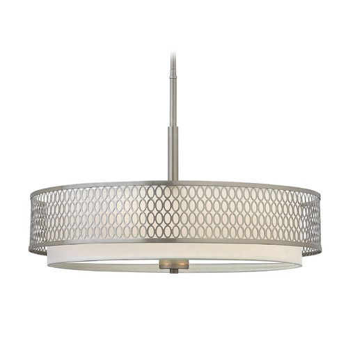 Frederick Ramond Frederick Ramond Jules Brushed Nickel Pendant Light with Cylindrical Shade FR35604BNI