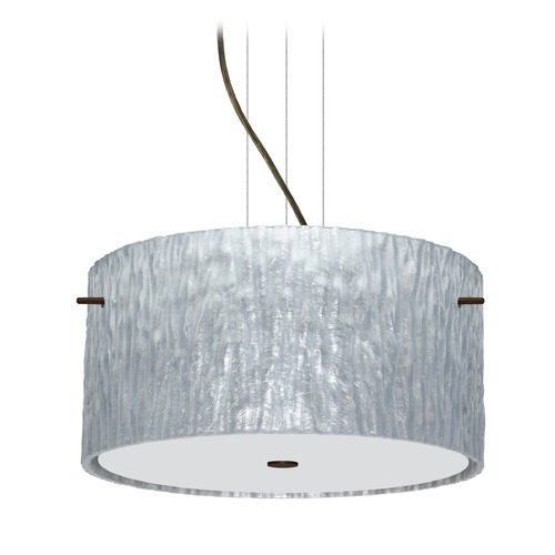 Besa Lighting Besa Lighting Tamburo Bronze LED Pendant Light with Drum Shade 1KV-4008SS-LED-BR