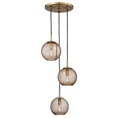 Hudson Valley Lighting Hudson Valley Lighting Rousseau Aged Brass Multi-Light Pendant with Globe Shade 2033-AGB-BZ