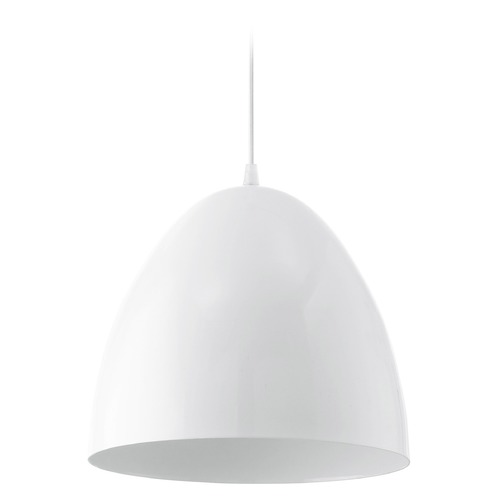 Eglo Lighting Eglo Coretto Glossy White Pendant Light with Bowl / Dome Shade 92717A
