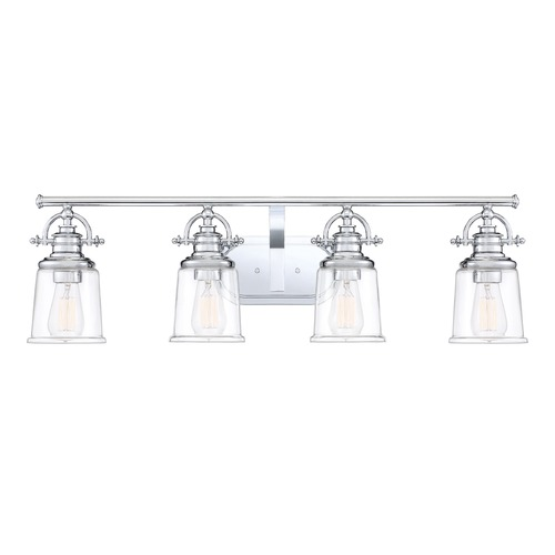Quoizel Lighting Polished Chrome 4-Light Bathroom Light with Clear Shade GRT8604C