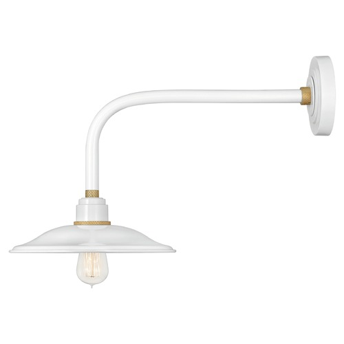 Hinkley Hinkley Foundry Gloss White / Brass Barn Light 10716GW