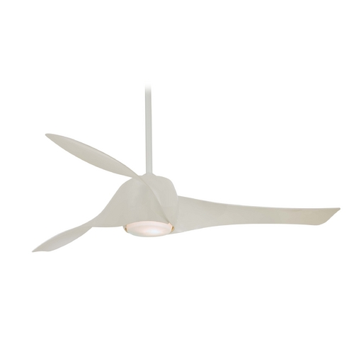 Minka Aire Modern Ceiling Fan with Light with White Glass in High Gloss White Finish F803-WH