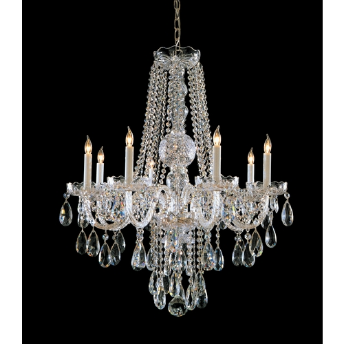 Crystorama Lighting Crystal Chandelier in Polished Chrome Finish 1108-CH-CL-S