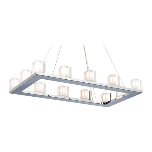 PLC Lighting Modern Chandelier Light with Clear Glass in Polished Chrome Finish 3488 PC