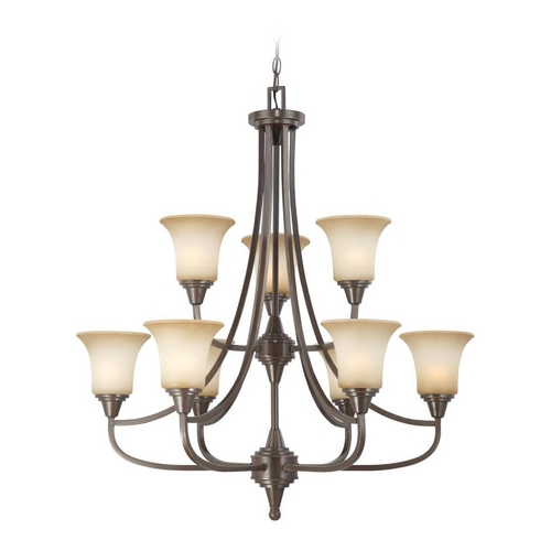 Nuvo Lighting Modern Chandelier with Beige / Cream Glass in Vintage Bronze Finish 60/4169