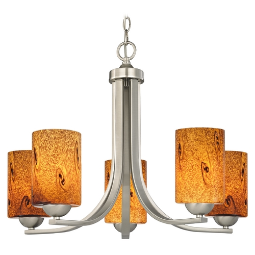 Design Classics Lighting Chandelier with Brown Art Glass in Satin Nickel Finish 584-09 GL1001C