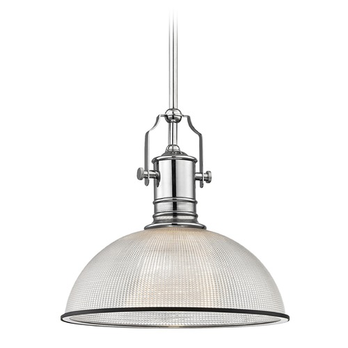 Design Classics Lighting Farmhouse Industrial Pendant Light Prismatic Glass Chrome / Black 13.13-Inch Wide 1765-26 G1780-FC R1780-07