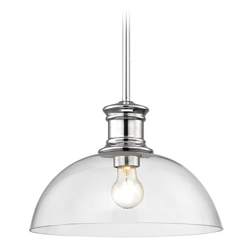 Design Classics Lighting Nautical Pendant Light Chrome with Clear Glass 13-Inch Wide 1761-26 G1785-CL