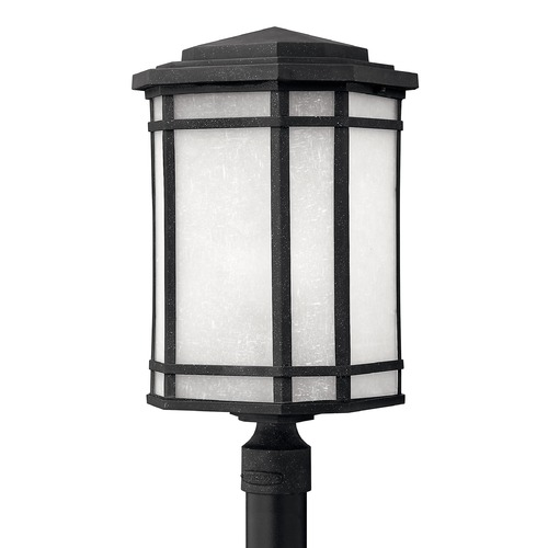 Hinkley Post Light with White Glass in Vintage Black Finish 1271VK