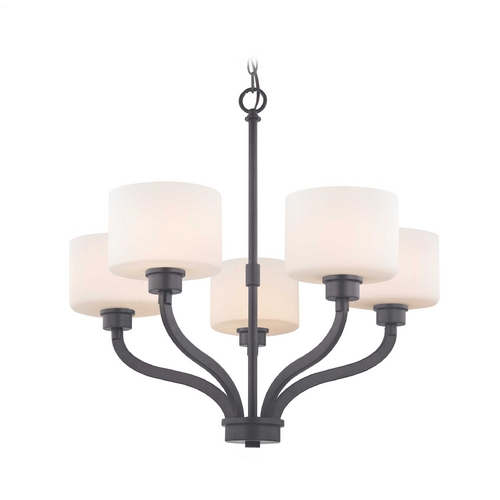Dolan Designs Lighting Bronze Chandelier with White Glass Drum Shades and Five Lights 1260-46
