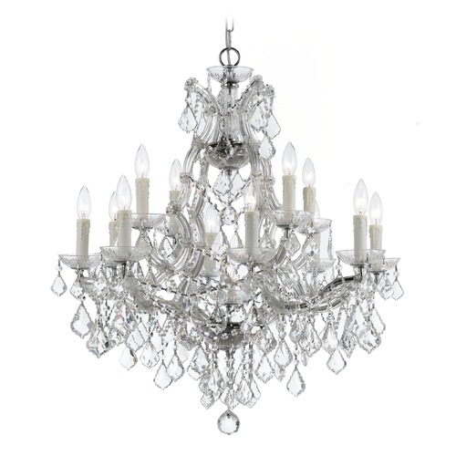Crystorama Lighting Crystorama Maria Theresa 2-Tier 13-Light Crystal Chandelier in Polished Chrome 4412-CH-CL-SAQ