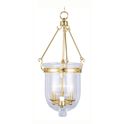 Livex Lighting Livex Lighting Jefferson Polished Brass Pendant Light with Bowl / Dome Shade 5064-02