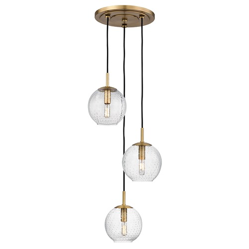 Hudson Valley Lighting Hudson Valley Lighting Rousseau Aged Brass Multi-Light Pendant with Globe Shade 2033-AGB-CL