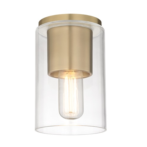 Hudson Valley Lighting Mid-Century Modern Flushmount Light Brass Mitzi Lula by Hudson Valley H135501-AGB