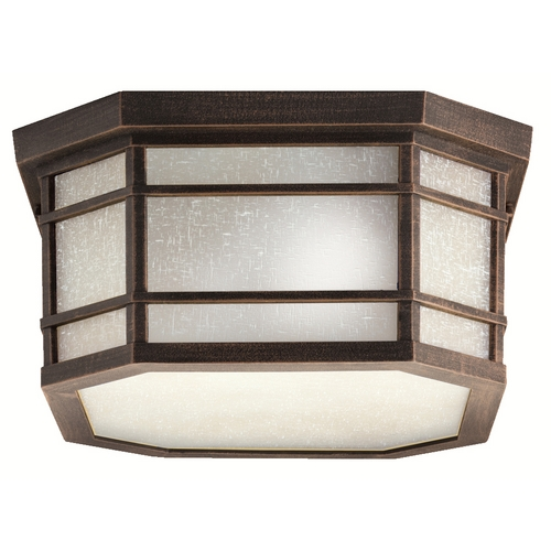 Kichler Lighting Kichler Close To Ceiling Light with White Glass in Prairie Rock Finish 9811PR