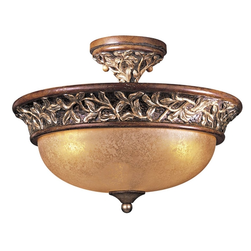 Minka Lavery Semi-Flushmount Light with Beige / Cream Glass in Florence Patina Finish 1568-477