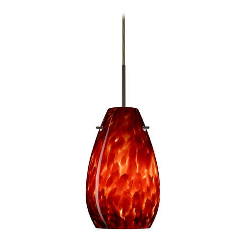 Besa Lighting Modern Pendant Light with Red Glass in Bronze Finish 1JT-412641-BR