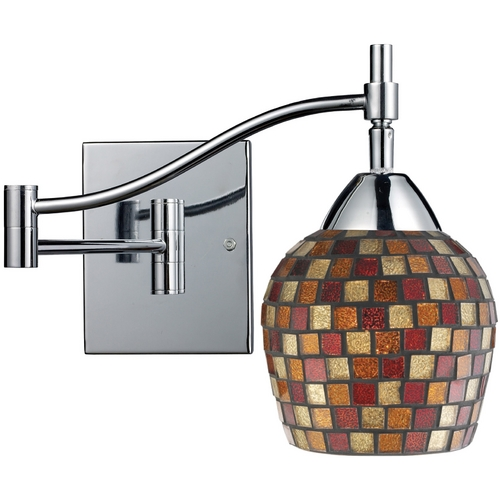 Elk Lighting Swing Arm Lamp with Art Glass in Polished Chrome Finish 10151/1PC-MLT