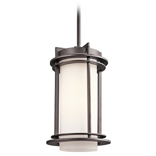 Kichler Lighting Kichler Outdoor Hanging Light with White Glass in Bronze Finish 49348AZ