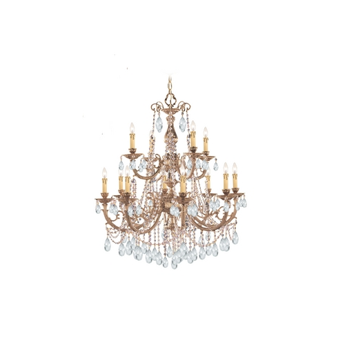Crystorama Lighting Crystal Chandelier in Olde Brass Finish 479-OB-CL-MWP