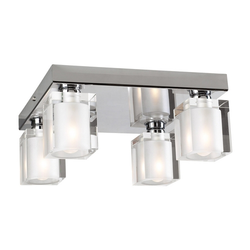 PLC Lighting Modern Flushmount Light with Clear Glass in Polished Chrome Finish 3486 PC