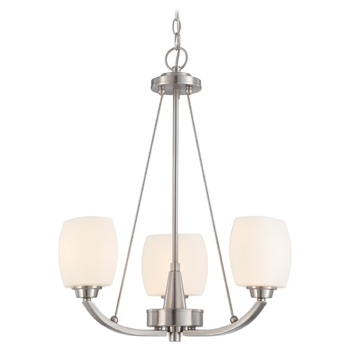 Nuvo Lighting Modern Mini-Chandelier with White Glass in Brushed Nickel Finish 60/4185