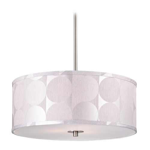 Design Classics Lighting Modern Drum Pendant Light with Silver Deco Shade DCL 6528-09 SH7558