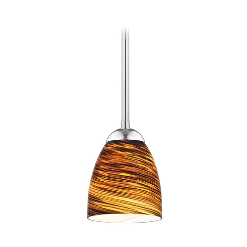 Design Classics Lighting Modern Mini-Pendant Light with Brown Art Glass 581-26 GL1023MB