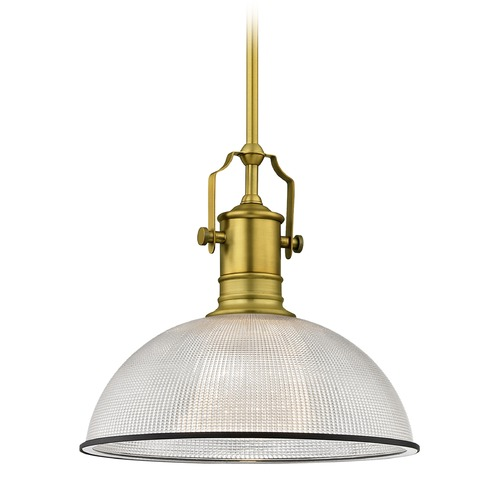 Design Classics Lighting Farmhouse Industrial Pendant Light Prismatic Glass Brass / Black 13.13-Inch Wide 1765-12 G1780-FC R1780-07