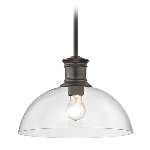 Design Classics Lighting Industrial Bronze Pendant Light with Clear Glass 13-Inch Wide 1761-220 G1785-CL