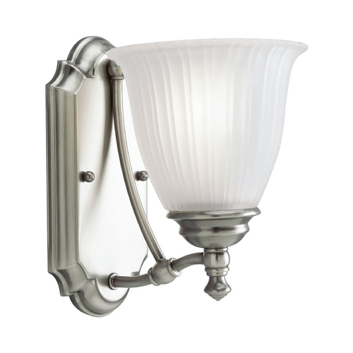 Progress Lighting Progress Sconce Wall Light with White Glass in Antique Nickel Finish P3016-81