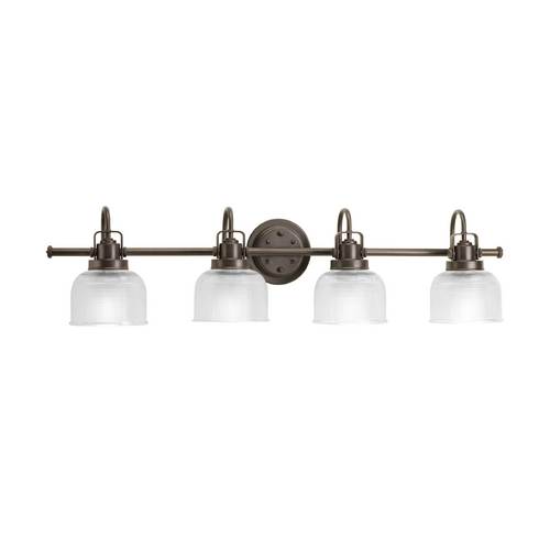 Progress Lighting Farmhouse Bathroom Light Prismatic Glass Bronze Archie by Progress Lighting P2997-74